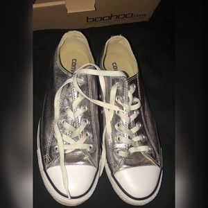 Women's metallic silver converse